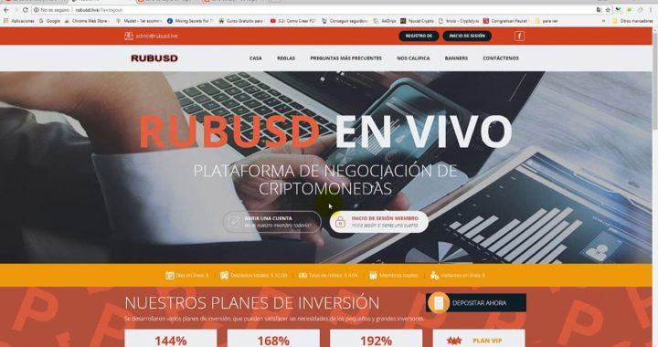 RubUsd Invierte y Gana Dinero + Prueba de Pago SCAM NO PAGA