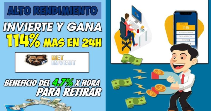Bet-Invest| Invierte y Gana 114% De Beneficio en 24horas Retorno por hora de 4.7% + Prueba de pago