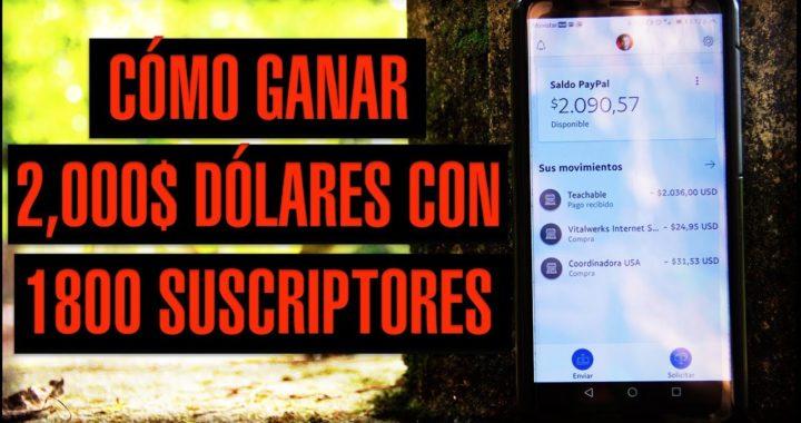Cómo Ganar 2,000$ Dólares con 1800 Suscriptores en YouTube   Jonathan Rengifo - Dinero