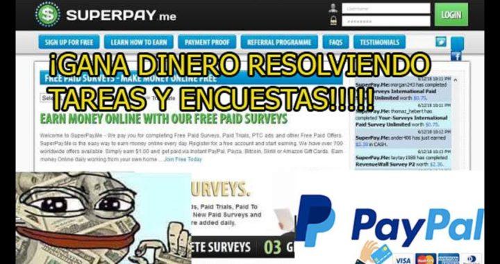 SUPERPAY-GANA DINERO CON TAREAS  Y ENCUESTAS (0.20$ X REGISTRARSE)